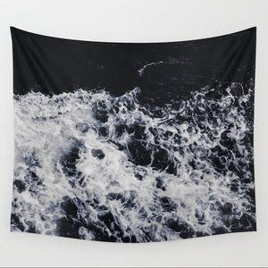 Society 6 Ocean Waves Dark Wall Tapestry